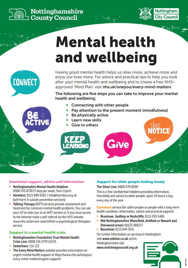 Mental Health and Wellbeing flyer